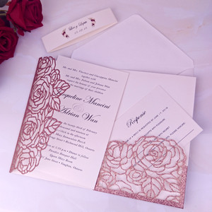 Pink Gold Glitter Laser Cut Wedding Invitations Cards With RSVP Card & Belly Band Glitter Invites for Bridal Shower Engagement Anniversary