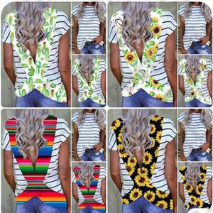 Sommer-Frauen T Shirt Kurzarm Backless T Blumen Sun Flower Striped Regenbogen-Kreuz-Gurt Sport Top Bademode Bikini-Vertuschung-2020 E31204