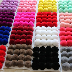 20 Farben Real Fur Ball 6cm Pompon Keychain Auto Pompon Kaninchenfell Ball Keychain Fell Diy Bag Charms mit flauschigen Bunny Ponpon