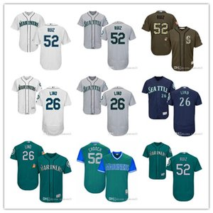 "das mulheres dos homens da Juventude Seattle # 26 Adam Lind 52 Carlos Ruiz ""Chooch"" Costume jérseis de basebol Mariners"