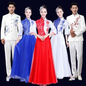 Le nouveau costume de choeur costume adulte chinois musique folklorique guzheng erhu vêtements vêtements hommes et femmes