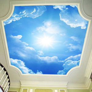 3D Wall Murals Wallpaper Landscape Blue Sky And White Clouds Ceiling Wallpaper Natural Murals Customized Bedroom Wall Papers