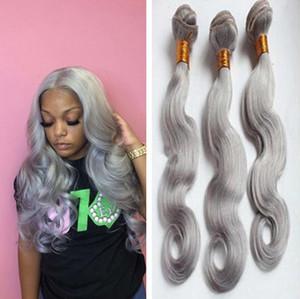 Cabelo Grisalho Pacotes 9A indiano cinza Virgin cabelo humano onda do corpo tece Silver Grey Hair Extension