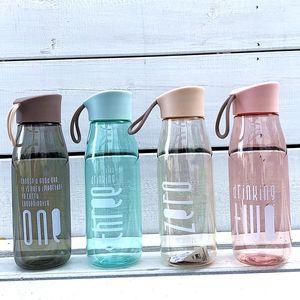 480 ml Kunststoff Wasserflasche Student Silikonband Outdoor Sports Cup Anti-Herbst Camping Sommer Wasserflaschen 4 Farbe