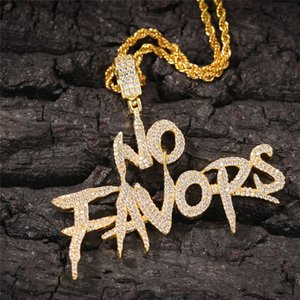 Luxury Hiphop NO FAVORS Pendant Necklace Mens Fashion Letters Pendants Bling Cubic Zirconia Hip Hop Gold Jewelry
