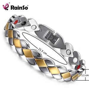 Pulseras magnéticas de la salud popular del acero inoxidable de Rainso para las pulseras magnéticas de la señora para la pulsera de la artritis Y19051403 ajustable