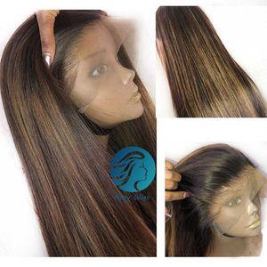 Мед белокурыми парик полный шнурок 150% Colored человеческих волос Парики Preplucked Черный Женщины Ombre Коричневый Длинные прямые 30-дюймовый индийский Реми