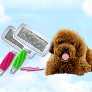 Arrojando manejar la manija del gato del perro casero cepillo de pelo denso y estética Peine del impermeable cepillos para el animal doméstico plástico del cepillo del perro casero cepillo accesorios BH2085 CY