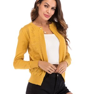 Womens Ladies Cardigans Sweater Solid Knitwears Crew Neck Long Sleeve Casual Lightweight Lounge Terry Open-Front Cardigan Tops