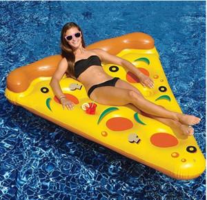 여름 뜨겁게 플라밍고 에어 매트리스 수영장 물 장난감의 한 노란색 풍선 피자 슬라이스 부동 침대 뗏목 수영 링 수레