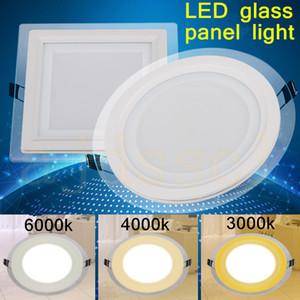 Светодиодные панели Светодиодные пятно 3 изменение цвета стекла привело Downlight 6W 9W 12W 18W свет панели AC85-265V Потолок Встраиваемый Внутреннее освещение