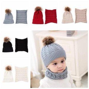 5 цветов детская шапка шарф набор малышей зима теплый мех мяч шапки уплотнительное кольцо шарфы дети шапочки шеи набор партии шляпы CCA10883 50set