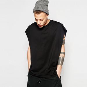 Erkek T Shirt Kolsuz Gevşek Spor Vest Tişört High Street Hip Hop Katı Renk O yaka Casual Giyim Gevşek Üst S-XL