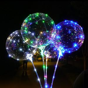 20 pulgadas Normalmente el LED se encienden BoBo Globos / WarmWhite Fillable globos de colores transparentes con helio, grande para el partido de Navidad