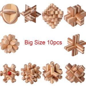 10 шт. / компл. большой размер дизайн IQ Brain Teaser Kong Ming Lock 3D деревянный блокирующий заусенец бамбук головоломки игра игрушка для взрослых детей Y200413