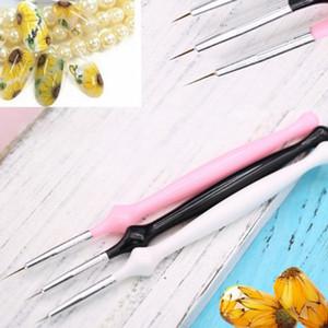 Stroke Nail Art Pen flor Tire 3 piezas de acrílico de Rod del gel del trazador de líneas del sistema de cepillo de la pintura de acrílico de la pluma de la calabaza de la manija de uñas de arte Herramientas Nuevas
