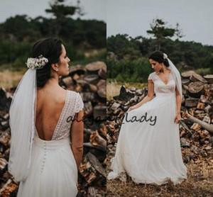 Vestidos de novia de cintura imperio Rústico elegante Crochet Marfil Encaje y gasa Sin espalda Con cuello en v País Vestido de boda bohemio Vestidos de novia
