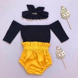 Pudcoco 2019 Neonate Abiti estivi Off spalla nera Tops + Shorts + Abiti fascia Set shorts gialli