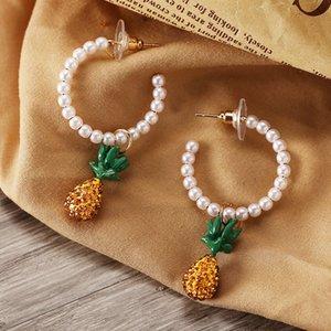 S1403 Hot Fashion Jewelry Faux Pearl Pineapple Pendant Earrings Rhinstone Pineapple Dangle Stud Earrings