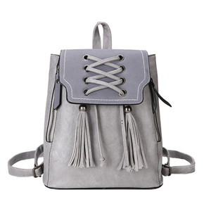 Designer-TEAEGG 2019 Casual Fashion Woven Tassel Decorative Ladies Retro PU Leather Solid Color Backpack Travel Small Backpack