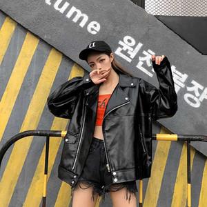 Moto del motorista de la PU de la chaqueta de cuero de imitación de las mujeres Mujer Escudo de gran tamaño tamaño más 2019 Outwear Señora vestir exteriores del otoño ropa coreana Negro