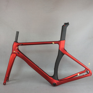Seraph 새로운 탄소 섬유 T800 사용자 정의 레드 페인트 매트 BB86 타이어 700x28C 디스크 브레이크 에어로로드 자전거 프레임 TT-X3