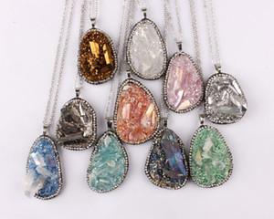 Pflastern Sie Kristalle Grenze Solar Quarz Anhänger Halskette Raw Original Quarz Halskette Kristall Halskette echte Edelsteine Anhänger