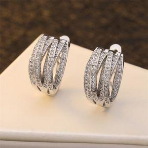 In Den meistverkauften Modeschmuck 925 Sterling Silber pflaster Weiß Saphir CZ-Diamant-Edelstein-Partei Frauen Frau Braut Klipp-Ohrring-Geschenk