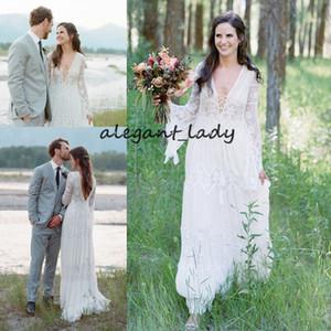 Bohemian Lace Wedding Dresses Flare Sleeve Deep V-Neck Sexy Backless A Line Boho Beach Bridal Gowns Gypsy Hippie Noivas