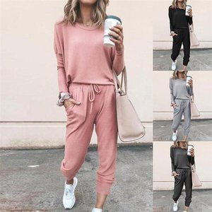 Long Sleeve Casual 2PCS Sets Drawsrting Pamts Suits Two Piece Pants Womens Designer Tracksuits Fashion Solid