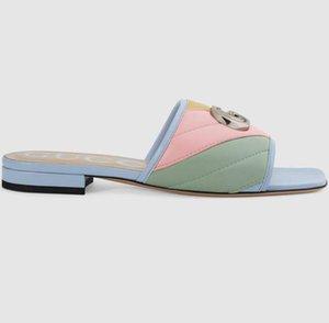 Neuesten Marken Frauen Pastell Leder-Dia-Sandale Designer Lady Bunte Palladium-getönte Hardware Flach GummiOutsole Slipper