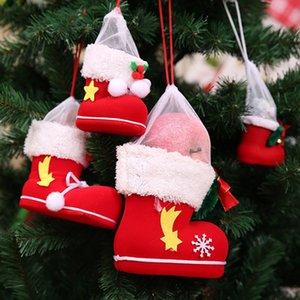 Mini Şeker Çizme Hediye Ayakkabı Merry Christmas Ağacı Süsleri için Xmas Stocking Ev Dekorasyonu Yılbaşı WX9-1724