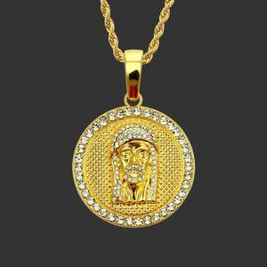 Oro Ritratto Hip sospensione Jesus volto Via uomo Ciondolo Hop con Free corda catena 24 collane del pendente