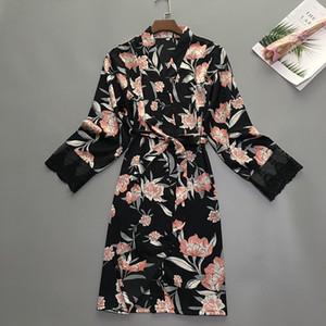 Womens sono verão Robe Pijamas Pijamas Lady Wear Início Nightgown sexy Kimono Bath vestido Sleepshirts M-XL