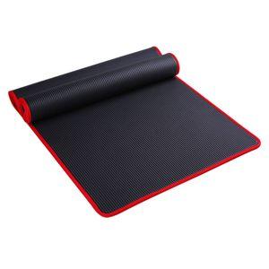 10Mm Thick Non-Slip Yoga Mat Nbr Fitness Pilates Mat Anti-Tearing Edge Beginner Yoga 72x24Inch - Black