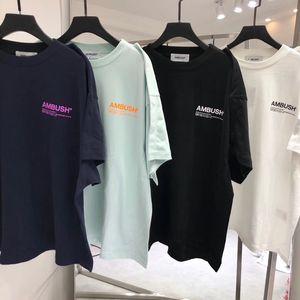 19ss Ambush camisetas homens mulheres de 1: 1 de alta qualidade 3M reflexiva tshirt High Street Hip-Hop Cotton Top T-shirt Tees Ambush