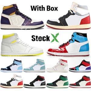 С Box StockX Мужские ботинки баскетбола 1S верхней Obsidian UNC Бесстрашный PHANTOM TURBO ЗЕЛЕНЫЙ 1 Backboard GYM RED Спорт Sneaker Trainer Размер 5.5-13