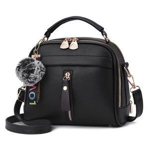 Shoulder Bags for Women 2019 PU Leather Womens Messenger Bag Fur Ball Crossbody Flap Bag Luxury Designer Casual Female Handbag