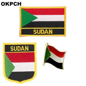 Sudan flagge patch abzeichen 3 stücke ein satz patches für kleidung diy dekoration pt0167-3