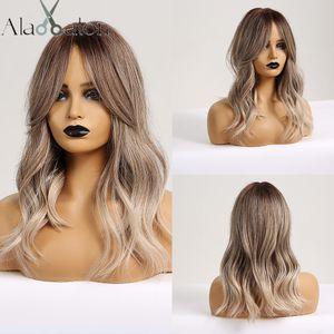 АЛАН EATON синтетических волосы парик Ombre Brown Light Ash Blonde парик Средних волны для чернокожих женщин Термостойкого волокна Ежедневно накладных волос
