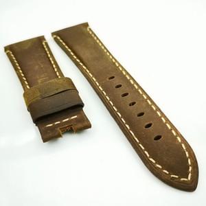 26mm 125mm / 80mm de alta qualidade pulseira de couro de bezerro marrom para PAN ERAI borboleta implantação Buckle Clasp Watch