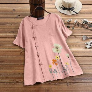 2020 Summer Short Sleeve Blouse ZANZEA Casual Vintage Floral Printed Shirts Women Cotton Linen Chemise Blusas Female Tunic Tops