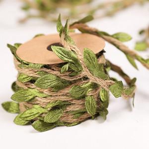 نبات إكليل الطبيعية الجوت البرمة الخيش ورقة الشريط القنب حبل تعليق على الحائط النباتات فاين الاصطناعي لريفي الديكور زفاف اكاليل