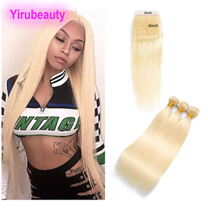 Indian Virgin Raw Hair Straight Bundles With 6X6 Lace Closure 613# Blonde Hair Extensions 10-30inch Bundles With Six By Six Closure