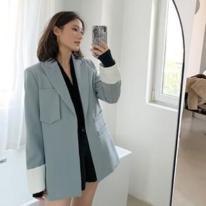 Woemn سترة العصرية أزياء الخريف الجديدة عارضة Poket لخليط فضفاضة سترة الإناث