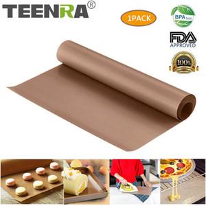 Teenra 60x40cm 재사용 가능한 테플론 과자 굽는 판 열 저항하는 석쇠 Bbq 비 스틱 케이크 매트 Ove 공구 Bakeware C19041501