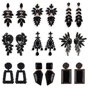 Women earrings Black metal diamond earring retro crystal leaf earrings sexy flower earrings wholesale 2020 new design