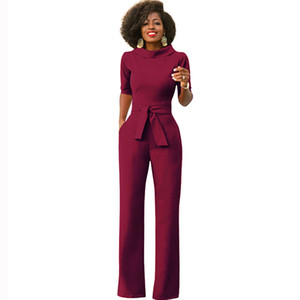Elegant Office Work Wear Business Formal Jumpsuits 2020 Women Half Sleeve Pockets Wide Leg Pants Romper Fashion Overalls Sashes