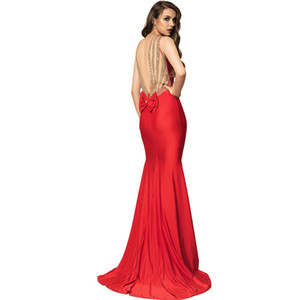 Fashion skirts suppliers foreign trade explosions evening dress wholesale custom open back bow sequins fishtail