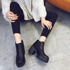 2019 spring autumn thick with ankle boots waterproof platform high-heeled shoes new British wind round head boots